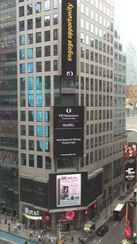 Mark Bosworth's missing flier on digital billboard in Times Square
