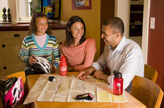 Bike map in the kitchen