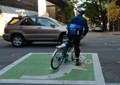 cyclist in a left turn bike box