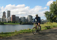 Cyclists in Portland cityscape
