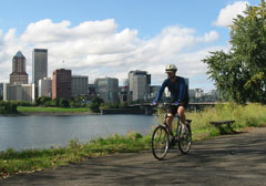 Cyclist on the eastbank esplanade