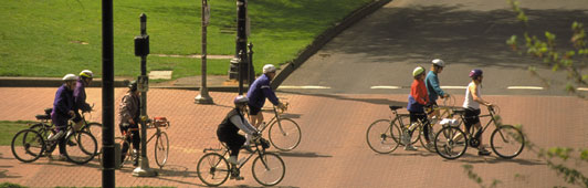 cyclists crossing street