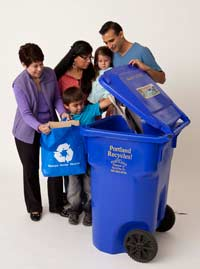 family adding to recycling bin