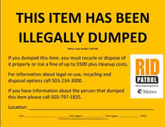 Illegal dumping tag