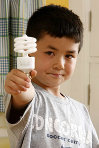 boy with CLF lightbulb