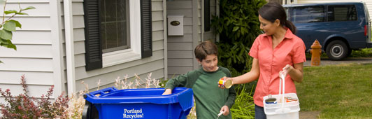 mother and son recycling