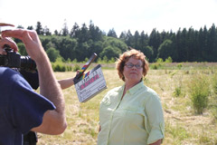 filming Elaine Stewart with a special use permit