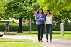 Girls walking in a park