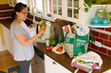 Woman prepping groceries