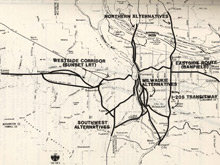 1982 long range regional transitway system map