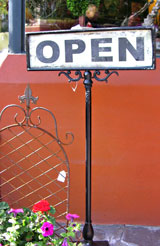 Open sign in Lake Oswego