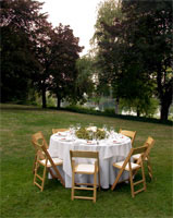 photograph of dining table on grass