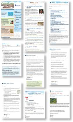 Thumbnails showing an array of e-mail newsletters