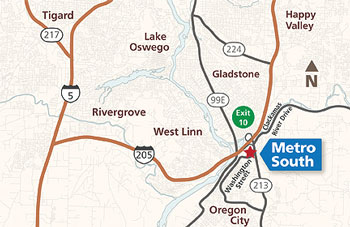 map to Metro South transfer station