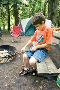 boy camping at Oxbow