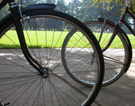 Bike wheels and spokes up close