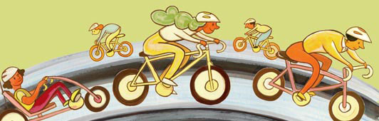 illustration of bicyclists
