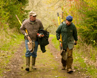 Restoration volunteers walking at Cooper Mountain
